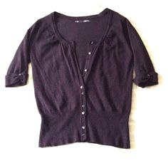 Black knit cardigan Comfortable black cardigan!  A great layering piece that helps define your waist.  70% rayon & 30% polyester makes this sweater have a little bit of give.  Note:  missing two buttons on the front (which can easily be replaced). Maurices Sweaters Cardigans