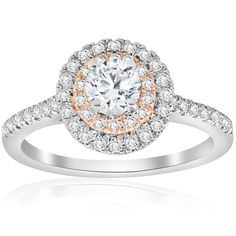 cttw Diamond Double Halo White & Rose Gold Engagement Ring (H/I, White Gold Diamonds, Natural Diamonds, Colored Diamonds, Halo Diamond, Diamond Rings, Diamond Cuts, Double Halo Engagement Ring, Rose Gold Engagement Ring, Ring Verlobung