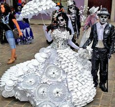 Day of the Dead costume made from plastic cups, plates, and utensils.