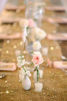burlap and pink tablescape, photo by Sean Money + Elizabeth Fay http://ruffledblog.com/glittered-charleston-wedding #reception #centerpieces #rustic