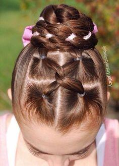 Interlocking ribbon bun hairstyle idea