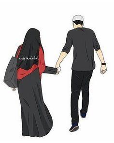 kumpulan kartun romantis parf 2 - my ely Cute Muslim Couples, Muslim Girls, Muslim Women, Cute Couples, Hijabi Girl, Girl Hijab, Couple Cartoon, Girl Cartoon, Hijabs