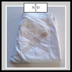 "NYDJ White Jeans w/silver & gold stitching pockets NYDJ White Jeans w/silver & gold stitching pockets. Waist lying flat measures 14"" across and Inseam is approx 28"". Lift & Tuck Technology. 97% cotton, 3% spandex. EXCELLENT CONDITION!! LIKE NEW! NYDJ Jeans"