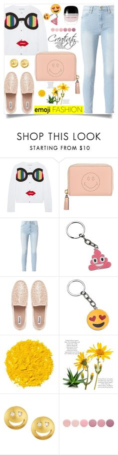 """Wink, Wink: Emoji Fashion"" by samra-bv ❤ liked on Polyvore featuring Alice + Olivia, Anya Hindmarch, Frame, Illamasqua, Tai, Deborah Lippmann, Marc Jacobs, polyvorecontest and emojifashion"