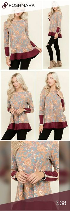 """Velvet Trim Floral Tunic Top Gorgeous! Super soft, feminine tunic top with floral pattern and unique velvet and lace trim sleeves, and velvet trim ruffle bottom. Amazing with jeans or leggings. Brand new. Machine washable. Made in USA!   90% polyester, 10% spandex.  Bust 36"""", Length 28"""". Sun & Moon Tops Tunics"""