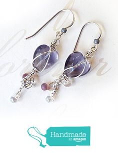 Rainbow Fluorite Valentine's Day Heart Earrings - Sparkling Violet to Lavender Semi Precious Gemstones & Sterling Silver, .925 - Wire Wrapped Handmade Purple Drops with Dangles - OOAK Gift for Women. from Rhonda Chase Design https://www.amazon.com/dp/B01N6OC3WW/ref=hnd_sw_r_pi_dp_503JybS1B7G7Q #handmadeatamazon