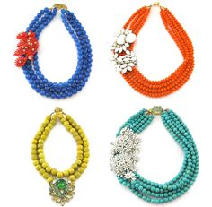 I would also love to do this as a DIY, since the two elements of these necklaces are a bauble on a single color multi-strand necklace.