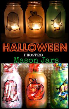 Halloween Frosted Mason Jar Crafts