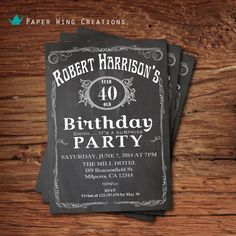 40th Birthday Invitation for men. by ThePaperWingCreation on Etsy, $15.00