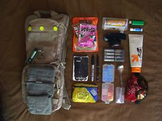 Burning Man Daily Bag I would add a harmonica, bowl for offered food, a scarf, (for sun protection or a tourniquet), and sunglasses.