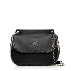 Tory Burch 'Small Marion' Crochet Straw Saddlebag Beautiful Brand new Tory Burch shoulder bag. Can be worn as crossbody. Never worn. Tags attached. Such a beautiful bag, too dressy for my everyday but deserves a good home! Tory Burch Bags Shoulder Bags