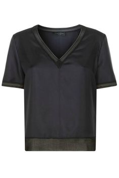 """The slinky ribbing on the Rag & Bone Helena Top creates a tonal outline on a delicate silk blouse. It features zigzag stitching at centered seams, v-neckline, and short sleeves. Slightly cropped style.    Measurements: Length: 22"""" from shoulder (size small)   Helena Silk Top by Rag & Bone. Clothing - Tops - Short Sleeve Canada"""