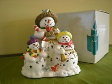 Partylite Snowbell Tealight Holder P7702 Snoman Holiday Winter Theme Candle