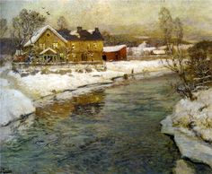 The Athenaeum - THAULOW, Frits Norwegian Impressionist (1847-1906)_Cottage by a Canal in the Snow