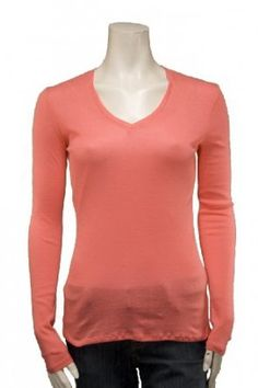 Juniors Lightweight V-Neckline Long Sleeve Top in Coral and Grey $5.99
