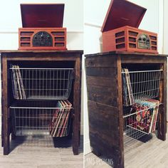 Look at this beautiful way to store your vinyls! The baskets slide out for easy access to your collection. Set your record player on top, and you have a one stop shop to all of your greatest music.