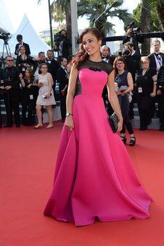 Aïda Touihri wearing her Charriol St-Tropez watch at Cannes Film Festival 2015 Rose Fuchsia, Pink, Cannes Film Festival 2015, Charriol, Maxi Robes, Best Sellers, Dressing, Watches, Formal Dresses