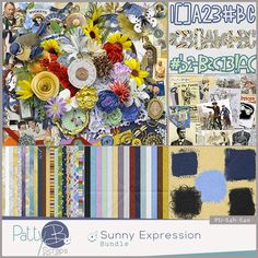 Sunny Expression Collection by PattyB Scraps - The pleasant or cheerful aspect of the ones we love will be easily scrapped with this vibrant digital scrapbooking collection. Those photos with bright sunny smiles will light up your layout page! The palette of this collection has sunny golden yellows, bright blues