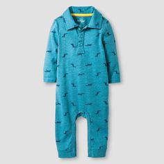 Baby Boys' Long-Sleeve Fox Print Polo Romper Baby Cat & Jack - Blue 6-9M, Infant Boy's, Size: 6-9 M, Endless Sea