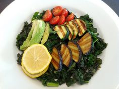 Sauteed Kale with Basil & Grilled Veggies