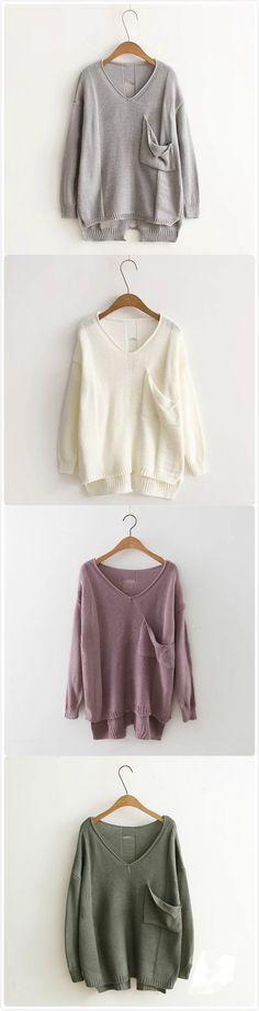 Long Sleeve V Neck High Low Hem Pullover Sweater