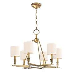 Bethesda Aged Brass Six-Light Chandelier with Cream Shade
