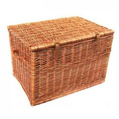 Large vintage French woven willow/wicker travel storage basket trunk with braided rim details and handles, sturdy woven bottom with removable lid. No maker's mark. Beautiful vintage condition, wear consistent with age and use. Storage Boxes, Storage Baskets, Willow Wood, Trunks And Chests, Blanket Chest, Laundry Storage, Fibres, Unique Furniture, Fabric Material