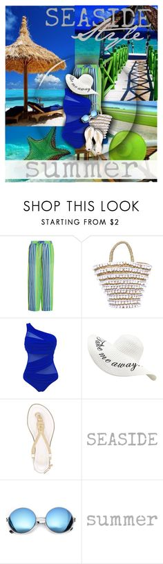 """""""Seaside Style"""" by amymrbll ❤ liked on Polyvore featuring Diane Von Furstenberg, Mystique, MICHAEL Michael Kors, Revo, beachstyle, polyvorecommunity and Swimsuits"""