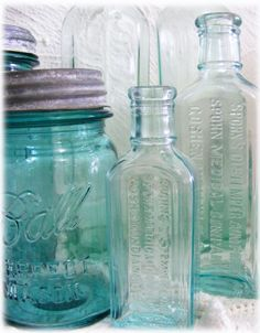 Old Blue Mason Jars and other Vintage Antique Jars.