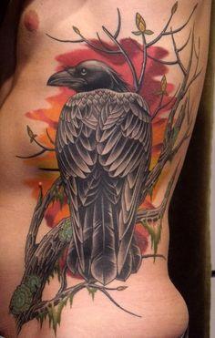 EL CUERVO , CON UN ALA EN CADA MUNDO. Visto con malos ojos en la superstición popular, el cuervo en realidad es un ave llena de fuerza , i...