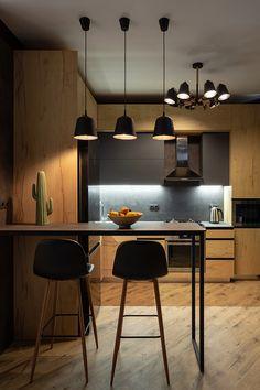 Kitchen Post, Loft Kitchen, Home Decor Kitchen, Kitchen Furniture, Home Kitchens, Cabinet Furniture, Wooden Furniture, Kitchen Bar Design, Interior Design Kitchen