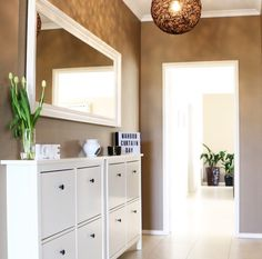 Loving our new entrance.  Dulux Paint - Snuggle Pie.  Hemnes Shoe Cabinets & Mirror from IKEA