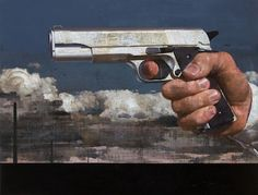 "François Bard, Impitoyable, 2012, Oil on Canvas, 51"" x 67""#Art #BDG #BDGNY #Contemporary #Painting #Gun"
