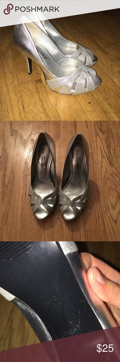 Glittery Silver Shoes Worn once as a bridesmaid shoe. Lulu Townsend is the brand, two sizes available - 6 and 8.5. True to size. Lulu Townsend Shoes Heels