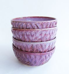 Purple Salad bowl handmade by BattonClayworksEtc on Etsy, $20.00