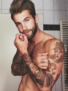 Playing with the Queen of Hearts: Tattooed arms on a hot bearded guy (beards, tattoos, ink, hunk)