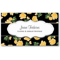 Black & Yellow Rose Pattern Business Cards