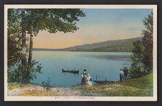 8th Lake ADIRONDACKS INLET NY Postcard HAMILTON COUNTY MOUNTAINS Eighth Lake Upstate New York, Worlds Largest, Hamilton, Postcards, Camping, Mountains, Places, Painting, Campsite