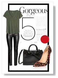 """T O D A Y"" by chantalcm ❤ liked on Polyvore featuring Gap and Christian Louboutin"