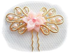 Bridal hair pin~Bridal shower~Chinese wedding~Quinceanera gift~Romantic pink~prom~2016 getting married~sister gift~Anniversary
