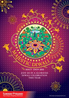 To develop a press ad and key visual for Sunway Pyramid shopping mall about the celebration of Diwali For Hindus, Diwali is one of the most important festivals of the year and is celebrated in families by performing traditional activities together i… Diwali Inspiration, Diwali Poster, Hindu Festival Of Lights, Indian Illustration, Diwali Greetings, Indian Festivals, New Year Card, Arts And Crafts Movement, Packaging Design Inspiration