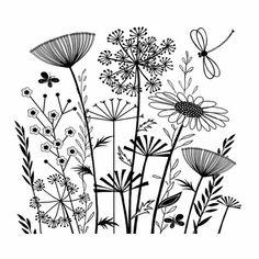 art dessin Oeuvre d art simple dessin noir et - art Doodle Drawings, Easy Drawings, Doodle Art, Art And Illustration, Tattoo Illustrations, Jungle Pattern, Floral Drawing, Drawing Art, Flower Doodles