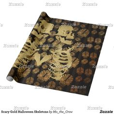 Scary Gold Halloween Skeletons Wrapping Paper
