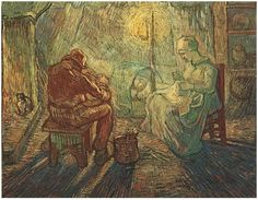 Evening: The Watch (after Millet) by Vincent Van Gogh  Painting, Oil on Canvas  Saint-Rémy, France: October, 1889