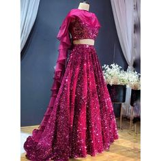 Pink velvet heavy sequence work wedding lehenga choli