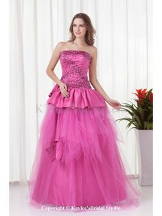 Satin Strapless A-line Floor-Length Sequins Prom Dress