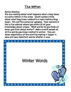 the mitten by jan brett worksheets | The Mitten by Jan Brett Guided ...