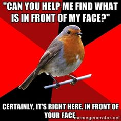"""""""Can you help me find what is in front of my face?"""" Certainly, it's right here. in front of your face. 