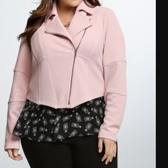 Torrid Faux Blush Moto Fully functioning zippers on sleeves, pockets, and front of jacket. Quilted stitched arms slight darkening from wear (shown on 4th pic) inside arm though not noticeable. Selling bc I just don't wear it. torrid Jackets & Coats