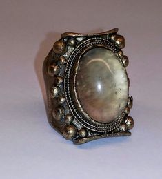 Low Luv by Erin Wasson Moonstone Gold Plated Gothic Statement Ring, sz 7, euc #LowLuv #Gothic